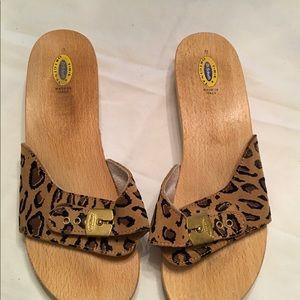 Dr Scholl's original wooden sole sandals.